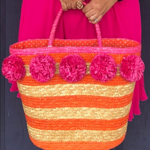 Mud Pie Handbags - Beautiful Large #Straw Bag Pink, Orange, and Tan